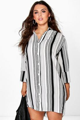 Plus Uli Stripe Woven Shirt Dress