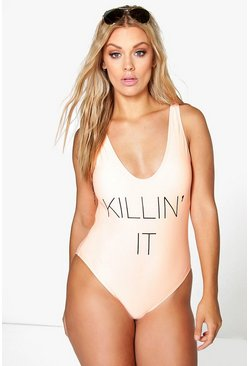 Plus Ana 'Killin It' Slogan Swimsuit