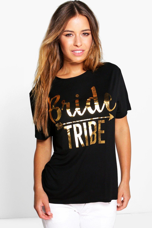 Corine 'Bride Tribe' Slogan Tee - black