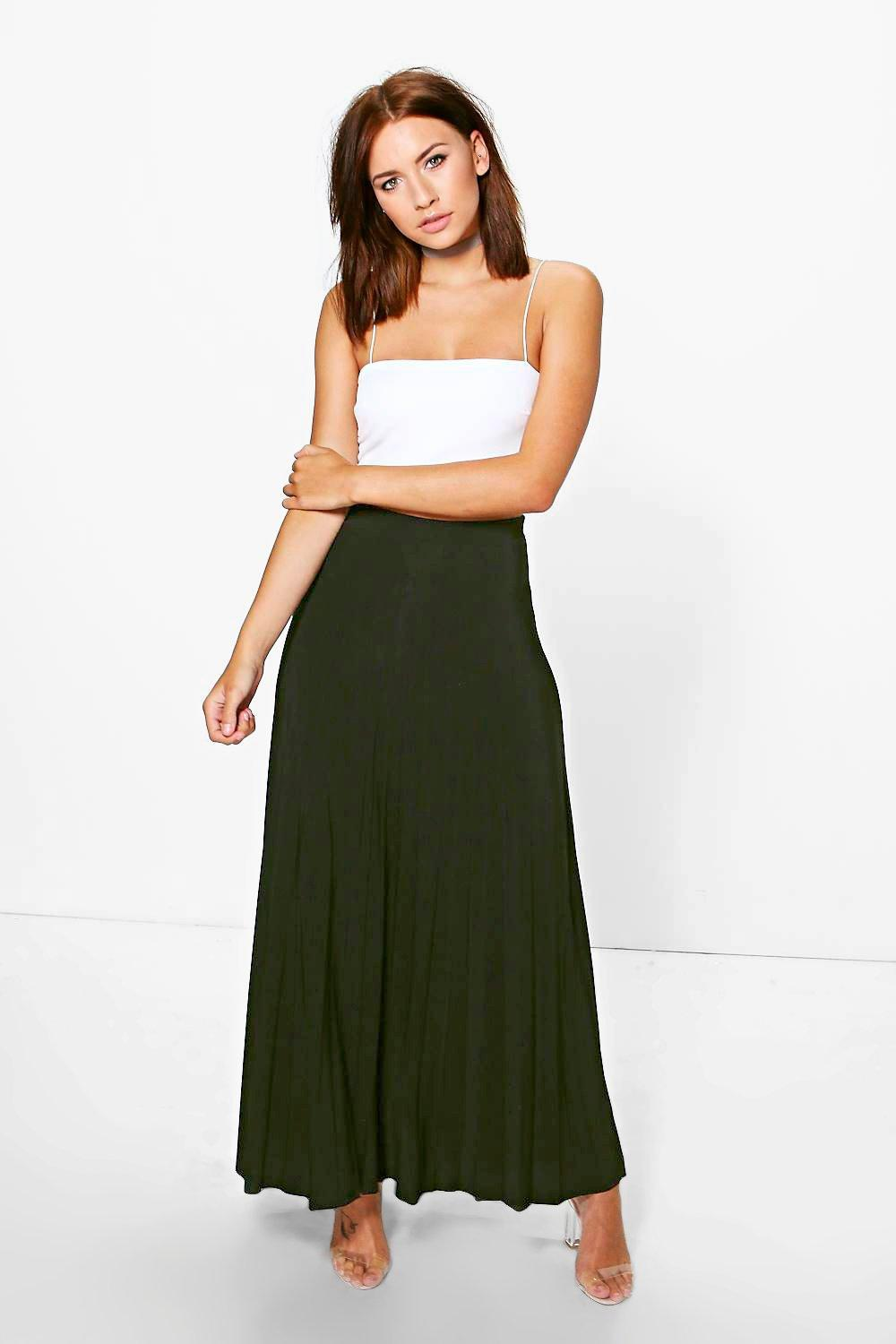 Petite Orla Pleated Slinky Maxi Skirt