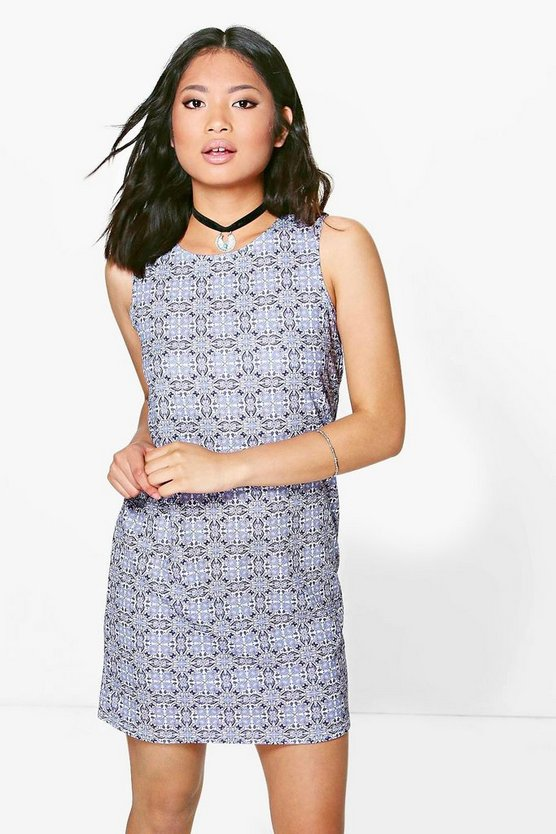 Petite Nova Tile Print Sleeveless Shift Dress