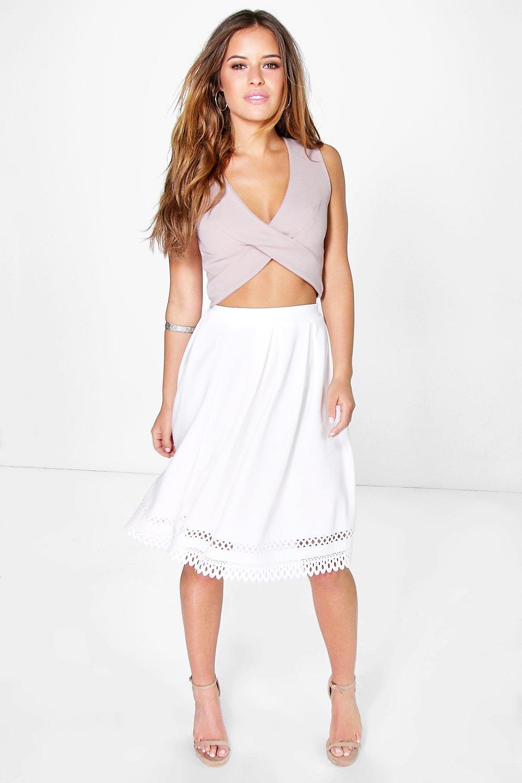 Delia Lazer Cut Hem Midi Skirt white