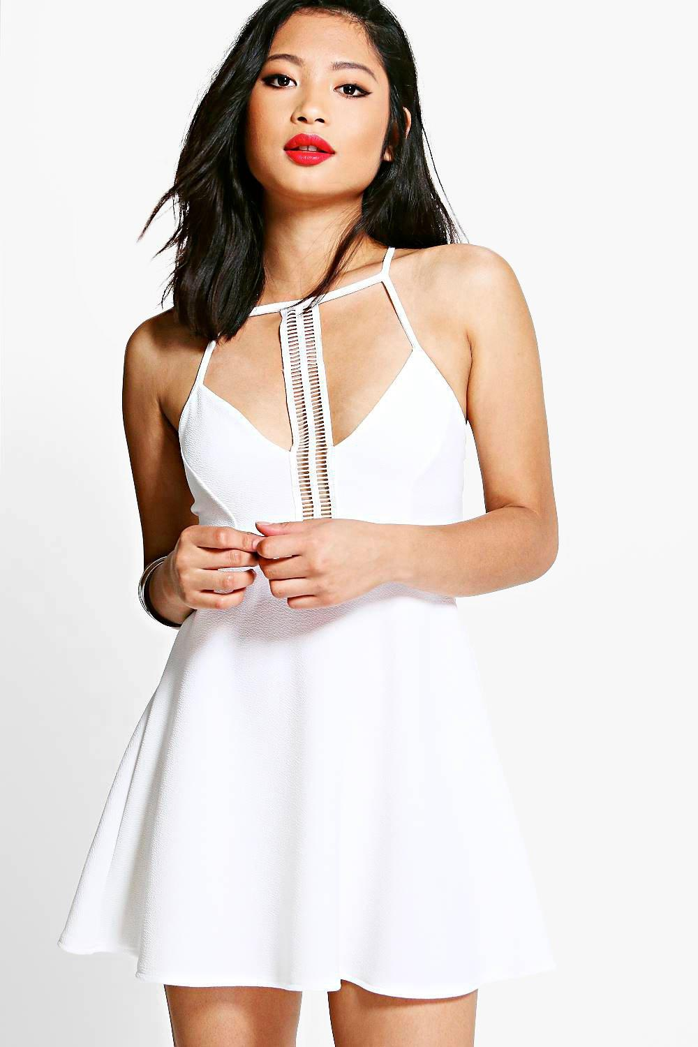 Petite Pria Trim Detail Strappy Skater Dress
