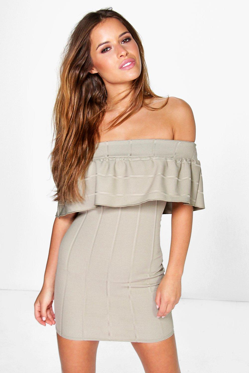 Petite Polly Bandeau Frill Bardot Bodycon Dress
