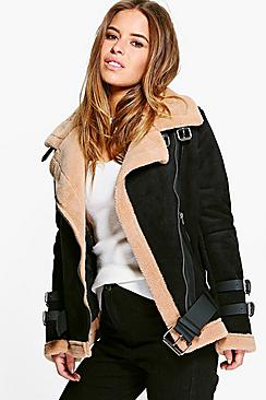 Petite Josie Fur Lined Aviator Jacket