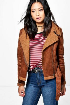 Petite Yani Cropped Aviator Fur Lined Jacket