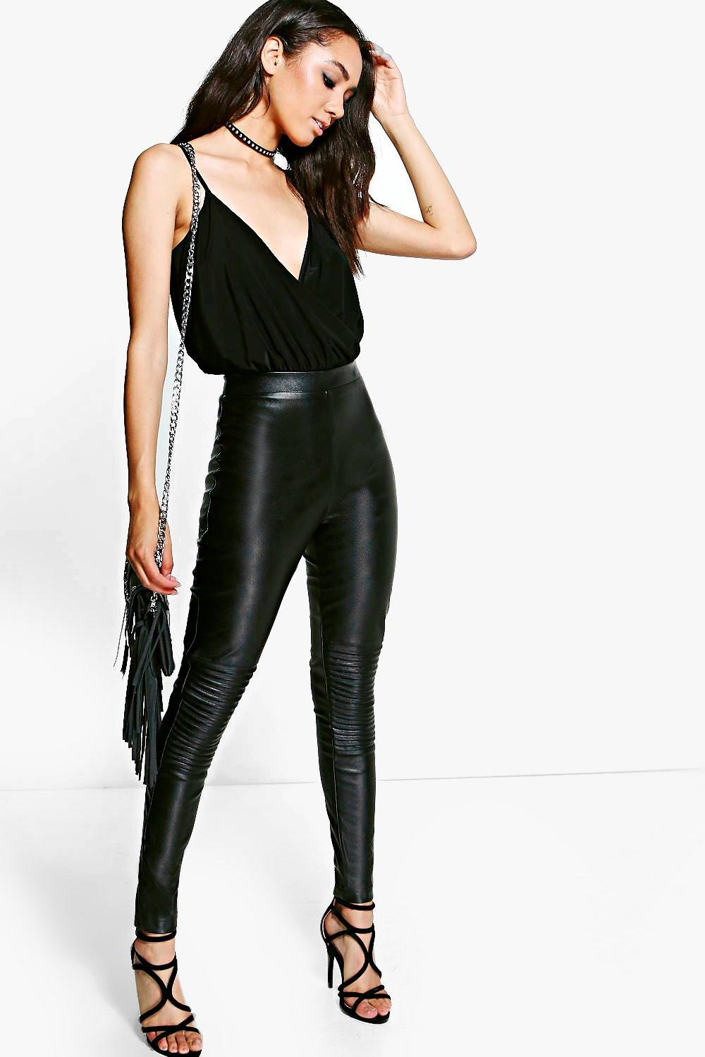Petite Elin High Waisted PU Biker Trouser