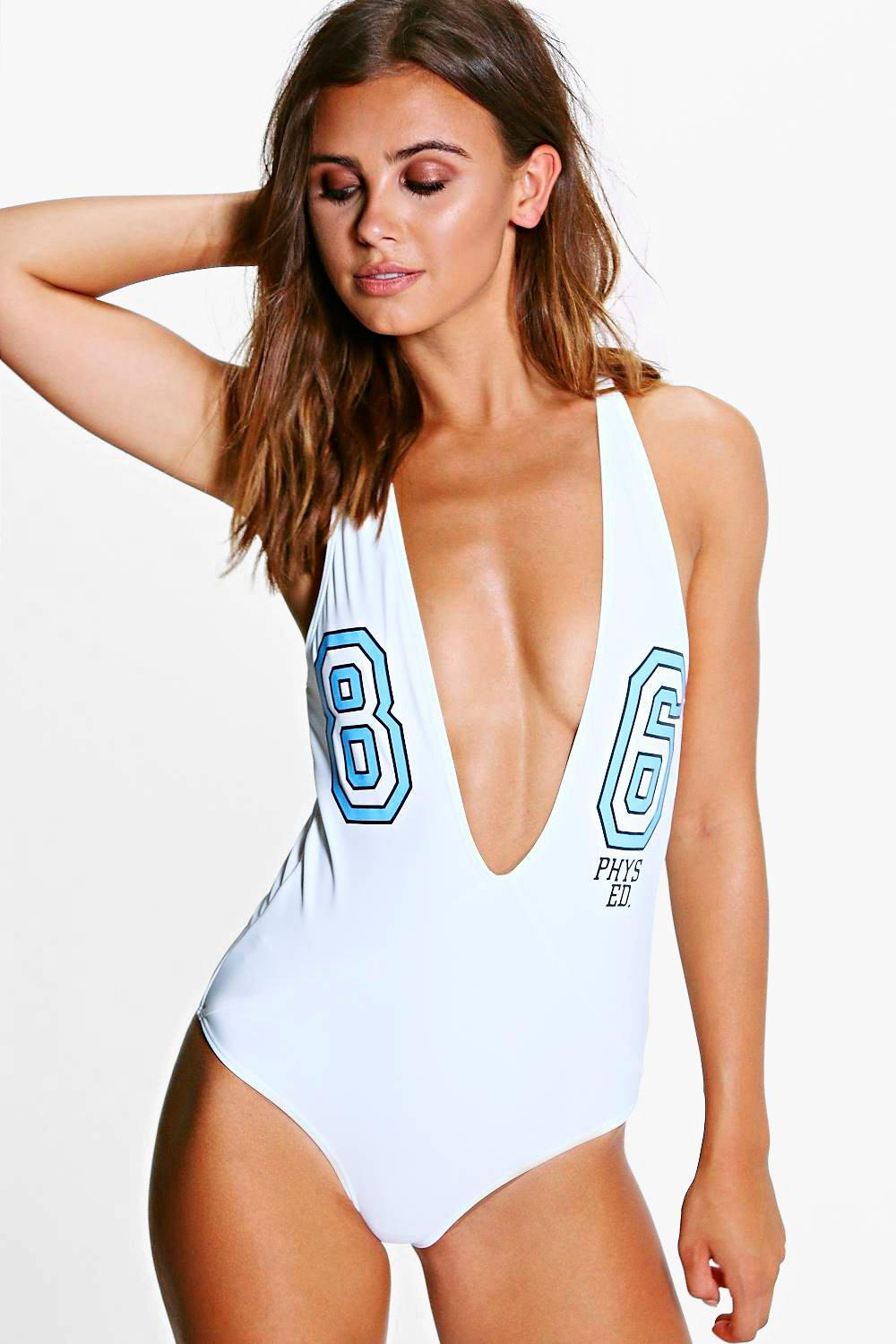 Petite Fae '86' Sporty Slogan Plunge Swimsuit