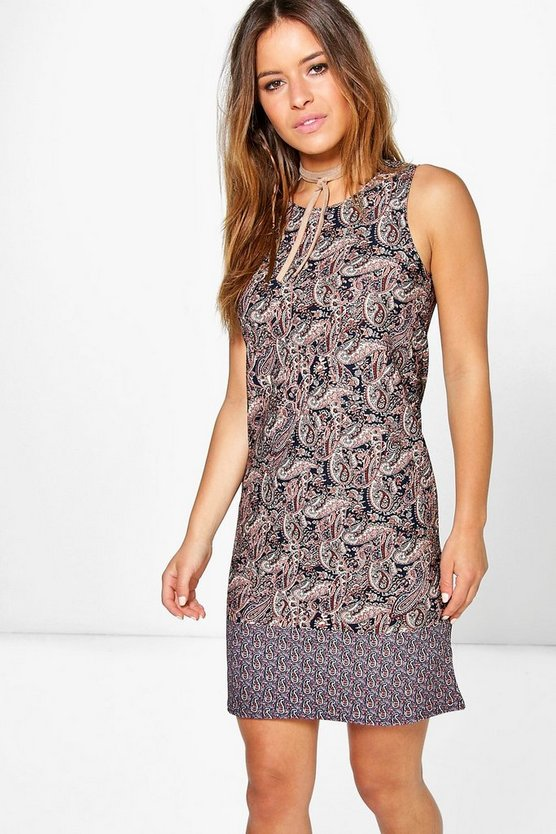 Petite Sian Border Print Sleeveless Shift Dress