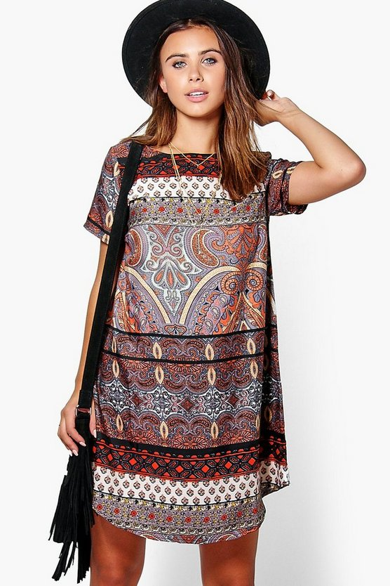 Petite Chrissy Printed Curve Hem Shift Dress