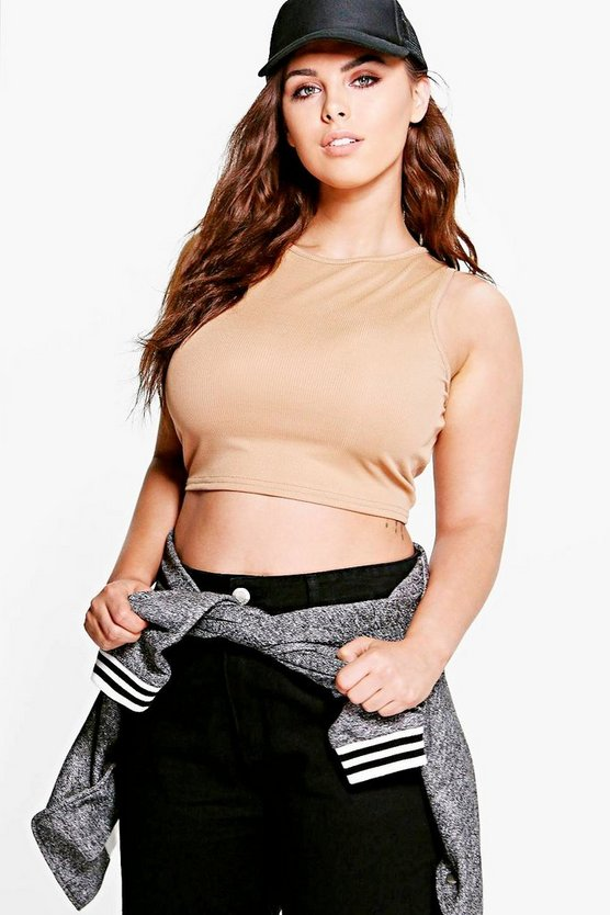 Plus Fearne Sleeveless Rib Crop Top