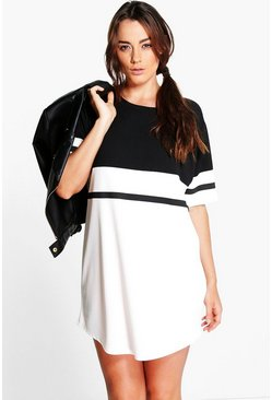 Plus Lolo Colour Block Curve Hem Shift Dress