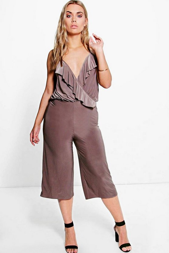 Plus Katey Frill Detail Wrap Culotte Jumpsuit