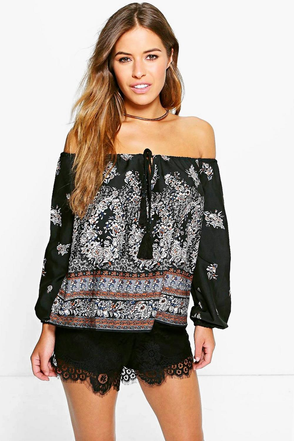 Petite Macy Woven Off The Shoulder Printed Top
