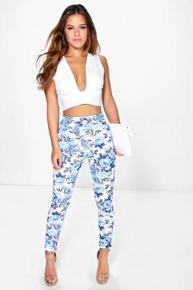 Petite Talisha Crepe Turn Up Skinny Trouser