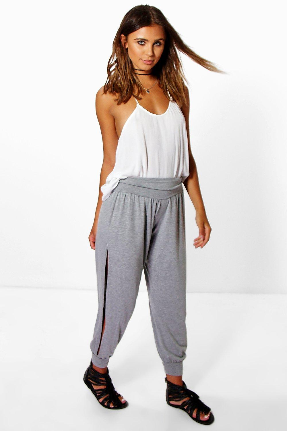 Tel Basic Jersey Split Side Hareem Trousers grey marl