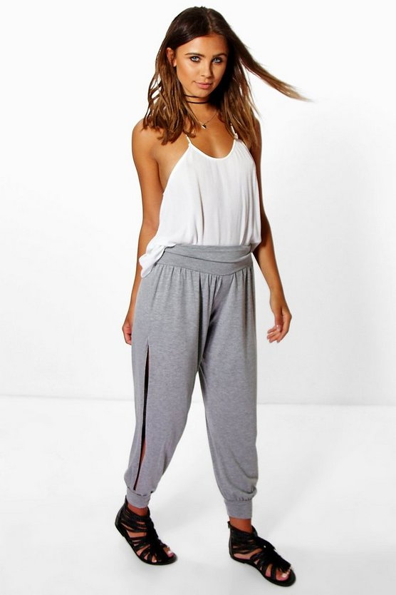 Petite Tel Basic Jersey Split Side Hareem Trousers