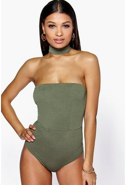 Petite Allie Detachable Choker Bandeau Bodysuit