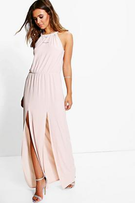 Petite Jaylyn Plait Detail Split Leg Maxi Dress