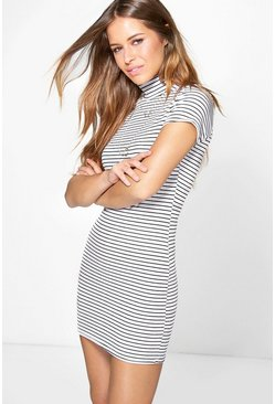Petite Sia Turtle Neck Rib Stripe Bodycon Dress