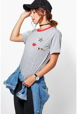 Petite Josie Badge Detail T-Shirt
