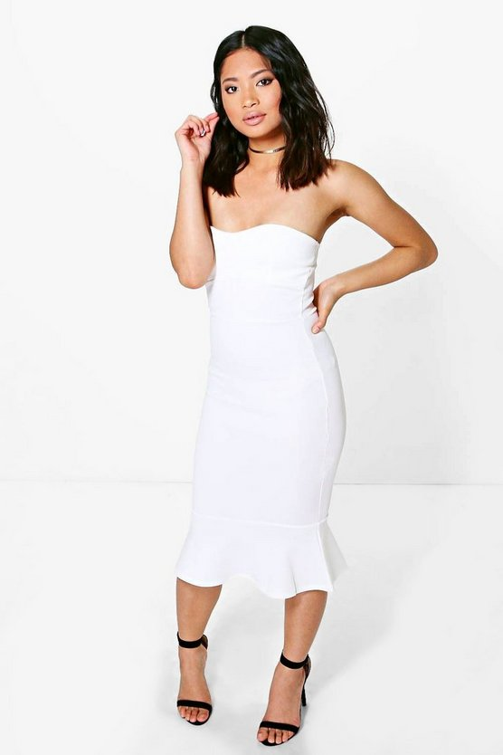 Petite Sheeva Midi Frill Hem Bodycon Dress