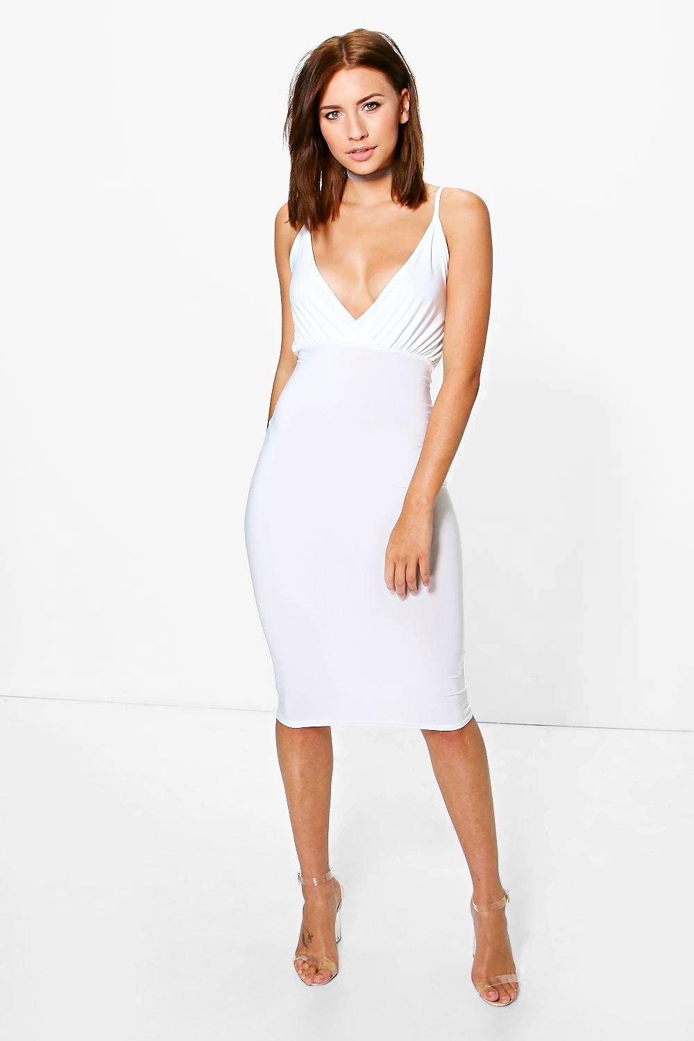 Petite Jordyn Wrap Slinky Midi Bodycon Dress