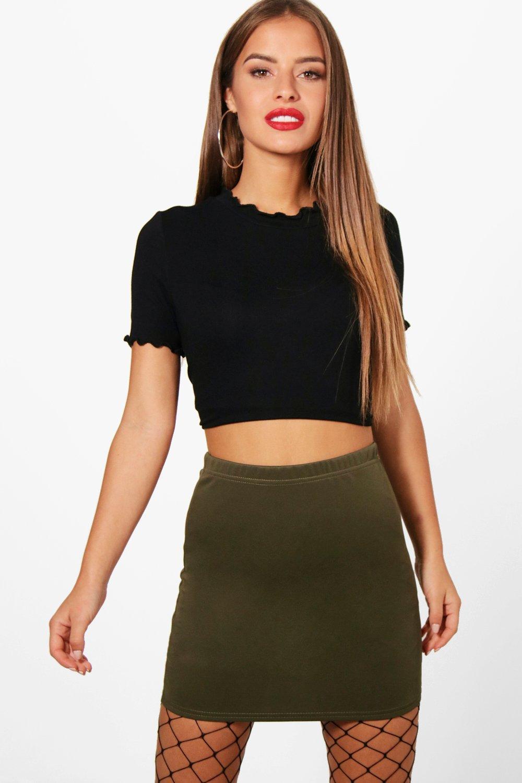 Brandy Scuba Mini Skirt  khaki