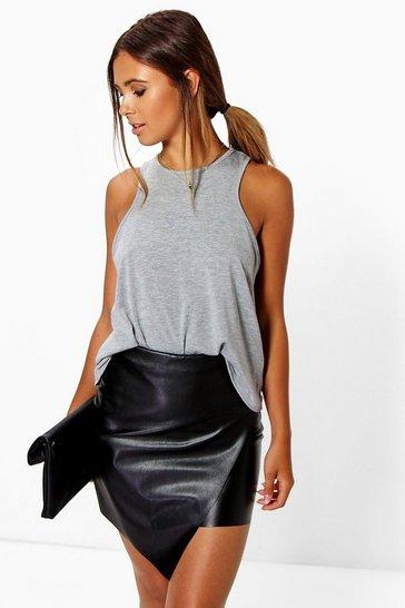 Black Petite Asymmetric PU Mini Skirt