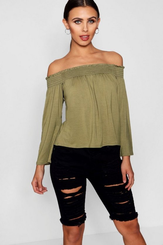 Petite Issy Shirred Off The Shoulder Top