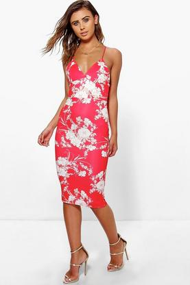 Petite Jules Plunge Neck Printed Midi Dress