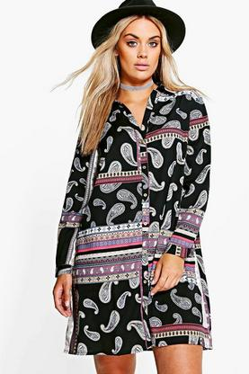 Plus Sabrine Paisley Shirt Dress