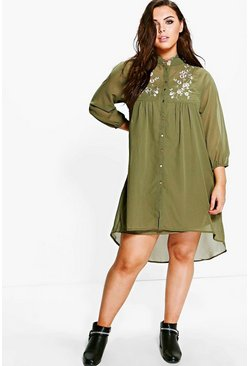 Plus Heather Embroidered Shirt Dress