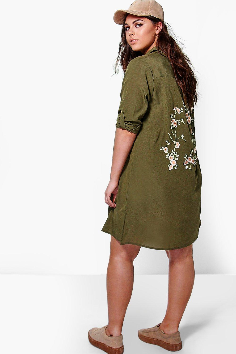Plus Larah Embroidered Shirt Dress