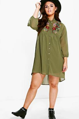 Plus Beatrice Embroidered Shirt Dress