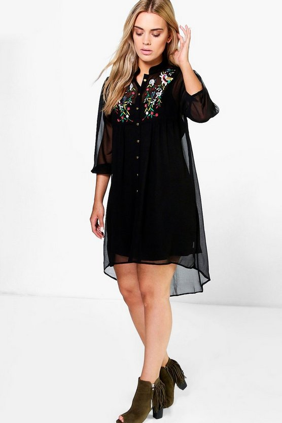 Plus Mindy Embroidered Shirt Dress