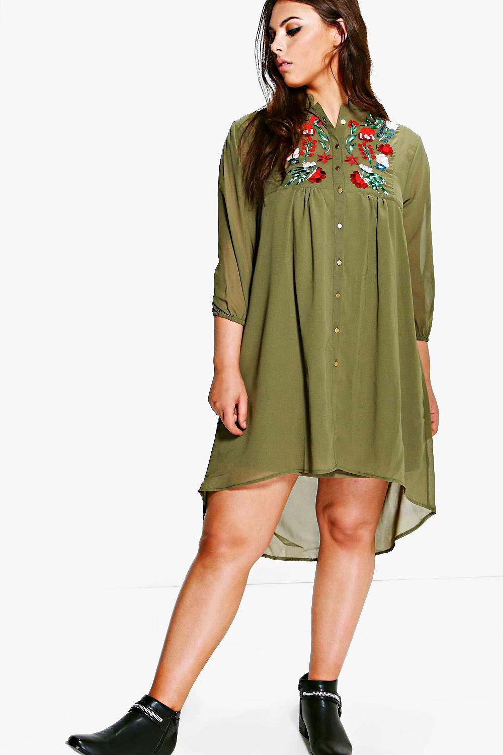 Plus Amerie Embroidered Shirt Dress