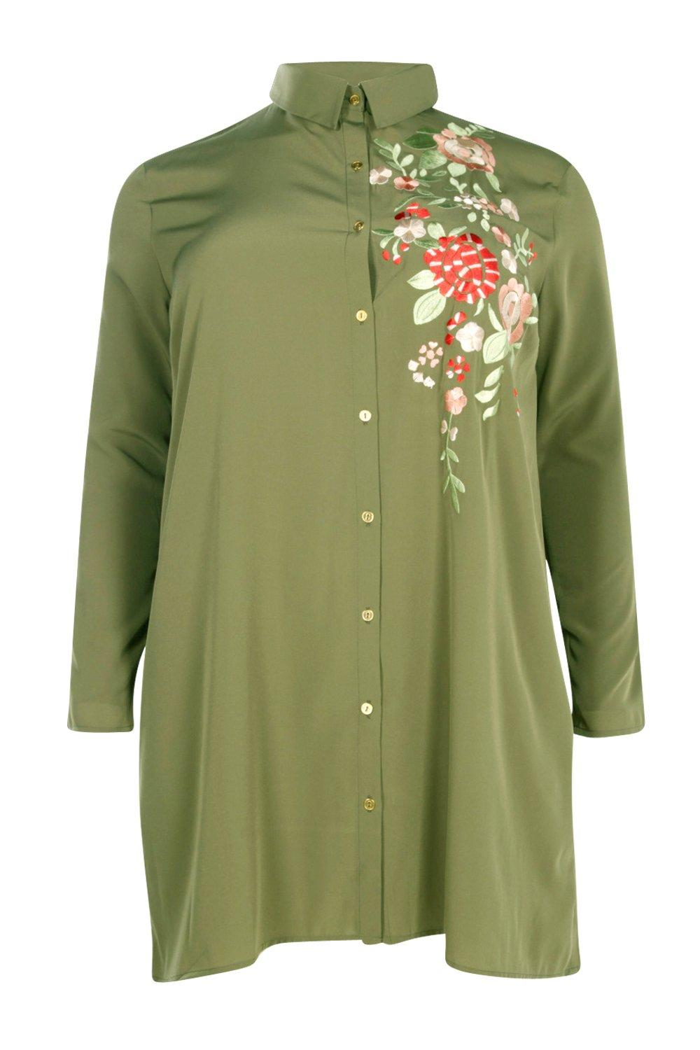 Boohoo womens plus carey embroidered shirt dress ebay