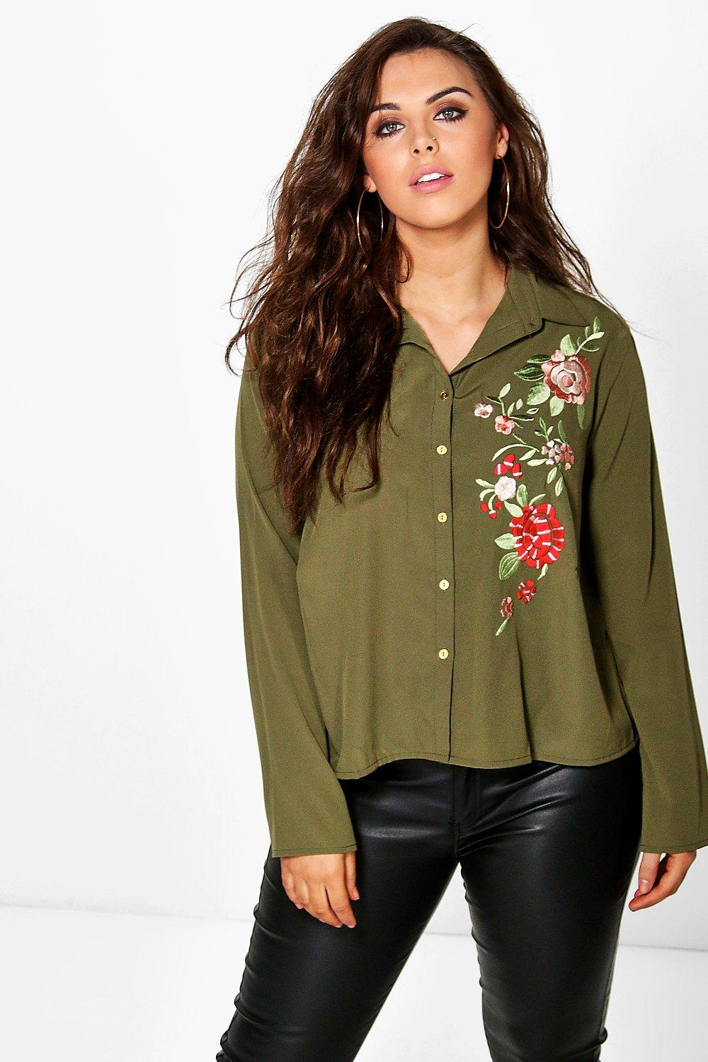 Plus Brea Embroidered Boxy Shirt