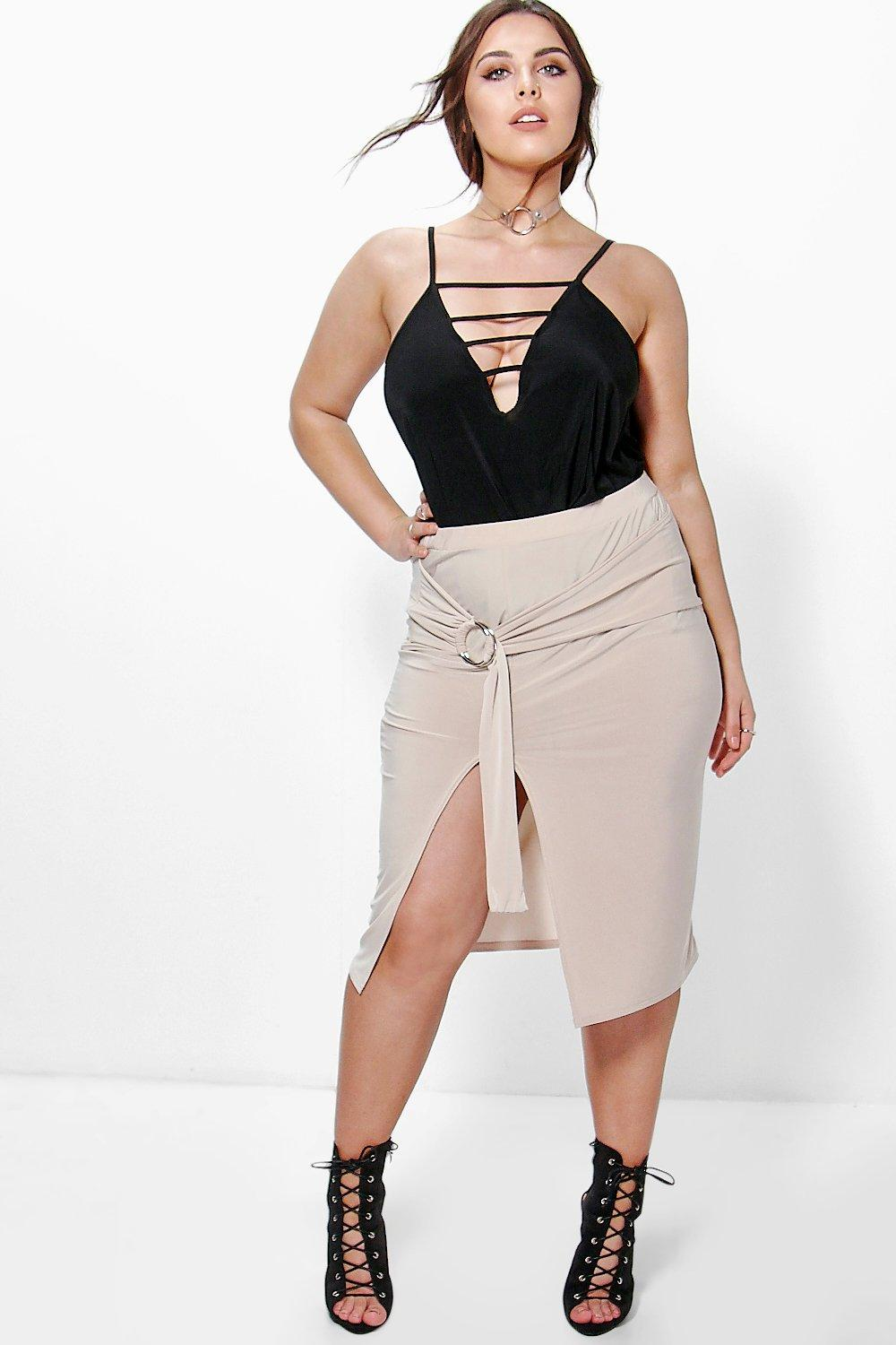 Plus Inara Tie Detail Midi Skirt