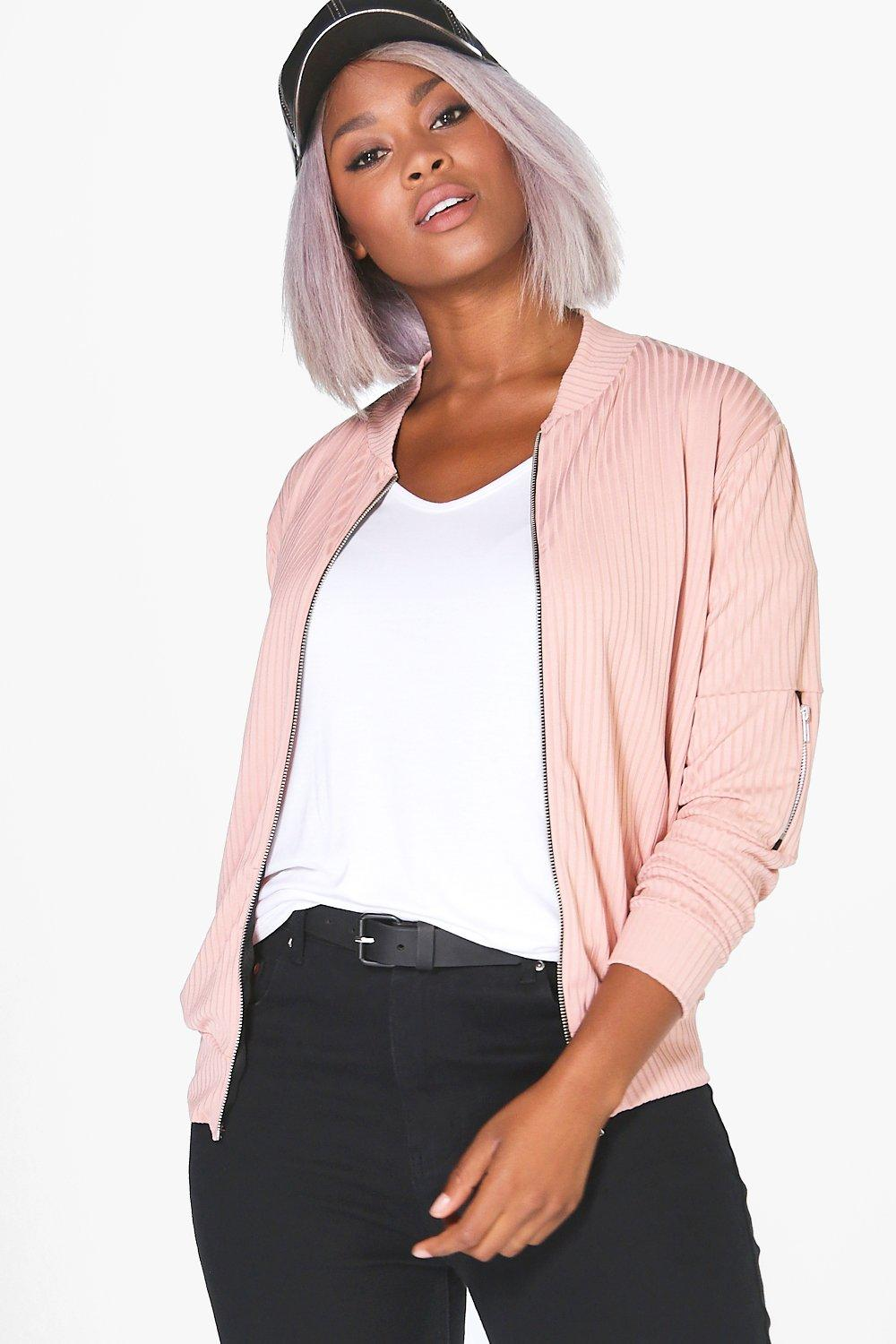 Bex Ribbed Bomber Jacket blush