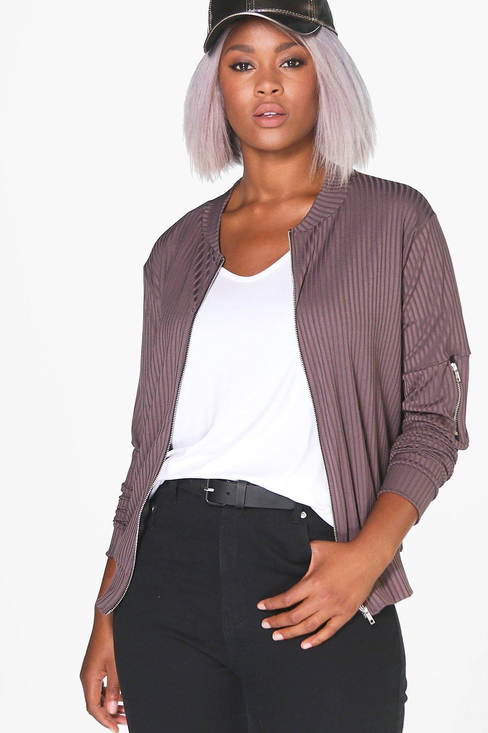 Bex Ribbed Bomber Jacket grey