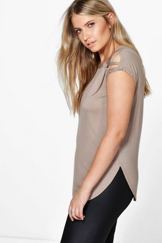 Plus Anya Lace Up Detail Shoulder Tee