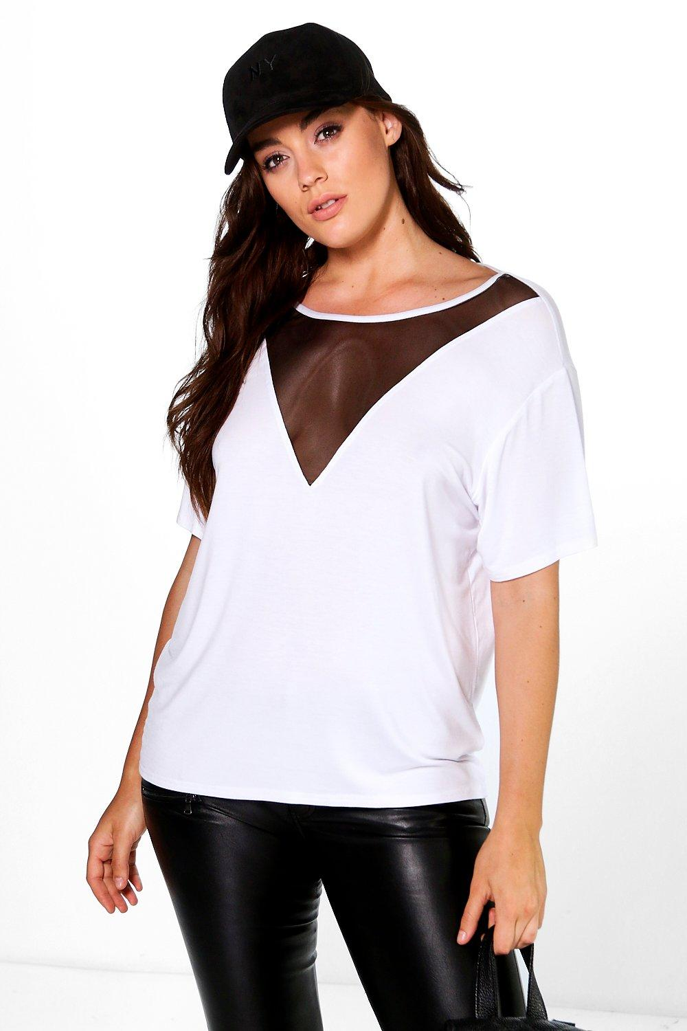 Plus Connie Mesh Panel Strappy Back Tee