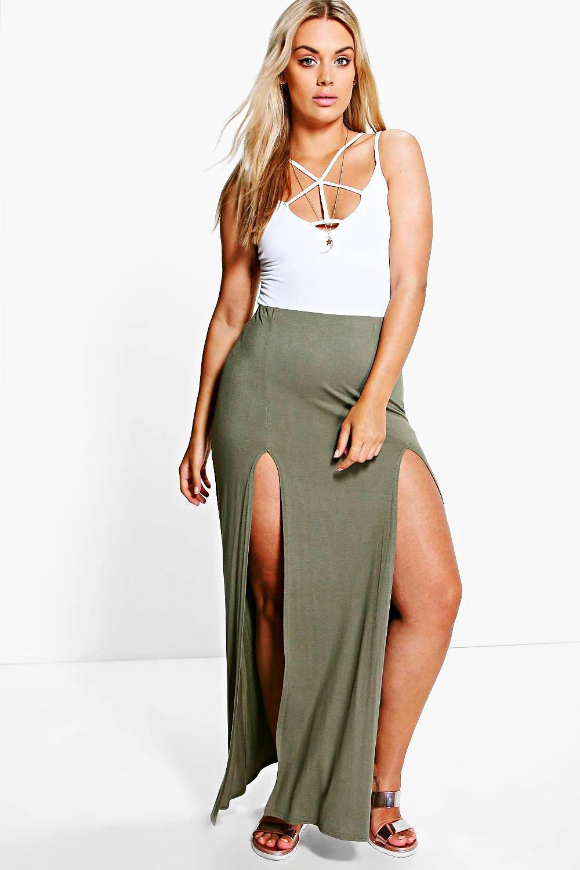 Erika Split Front Maxi Skirt khaki