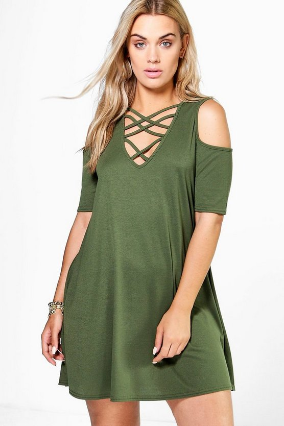 Plus Kirsty Ribbed Cold Shoulder Dress