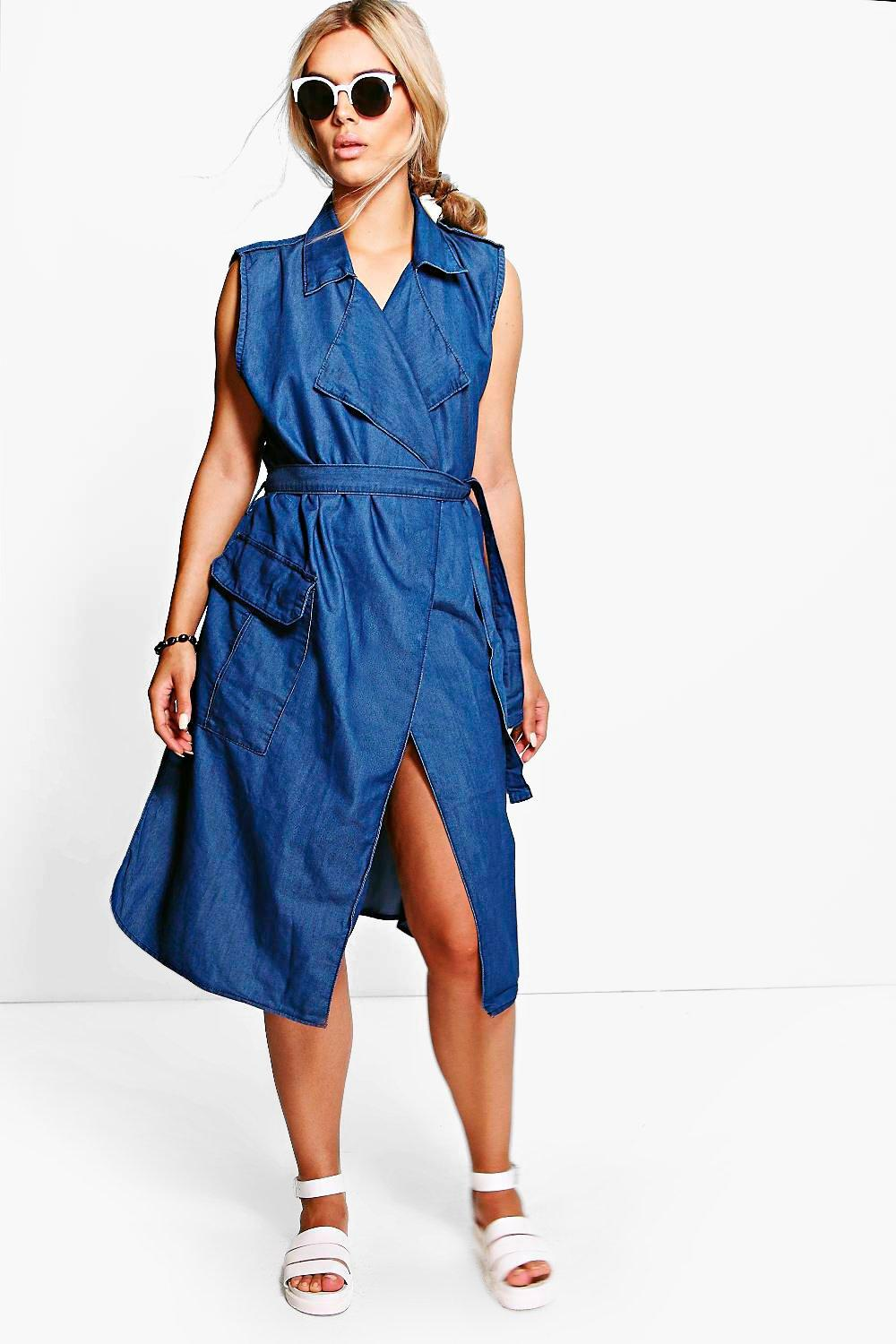 Plus Willow Wrap Over Denim Dress