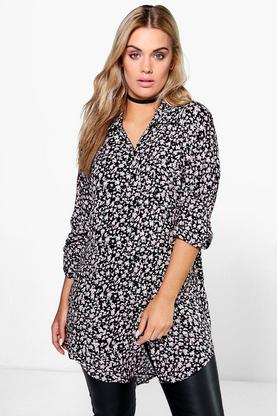 Plus Aida Oversized Ditsy Print Shirt