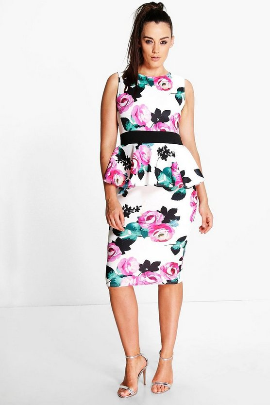 Plus Carys Floral Peplum Midi Dress