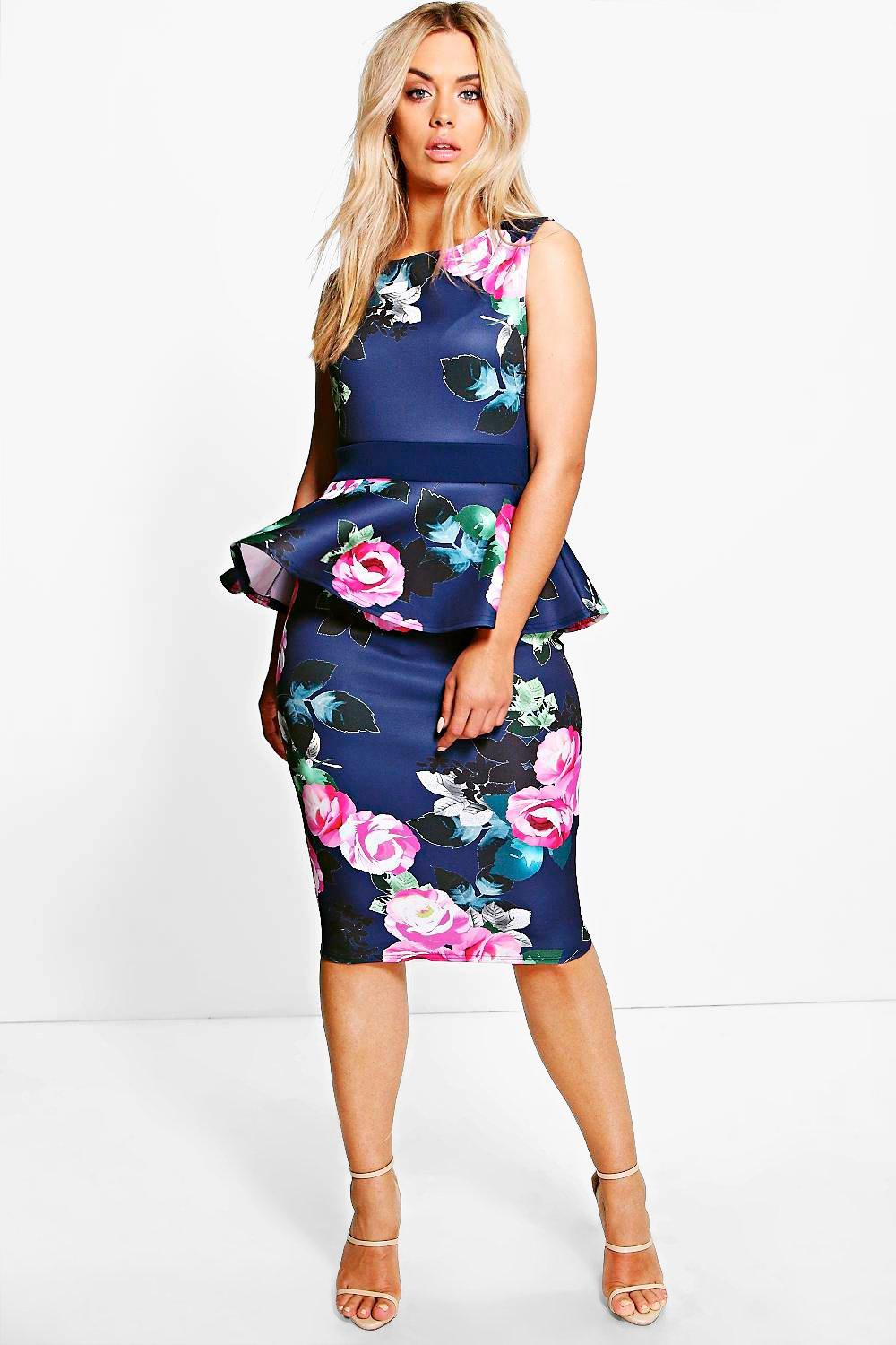 Plus Violeta Floral Peplum Midi Dress